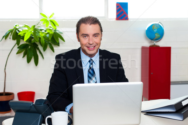 Corporate leader sitting in front of his laptop Stock photo © stockyimages