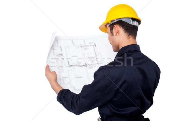 Burgerlijk ingenieur blauwdruk studeren bouw Stockfoto © stockyimages
