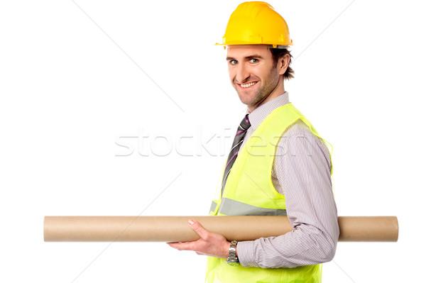 Gelukkig burgerlijk ingenieur blauwdruk jonge Stockfoto © stockyimages