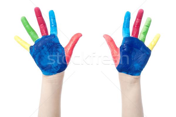 Peint mains coloré amusement blanche deux Photo stock © stockyimages