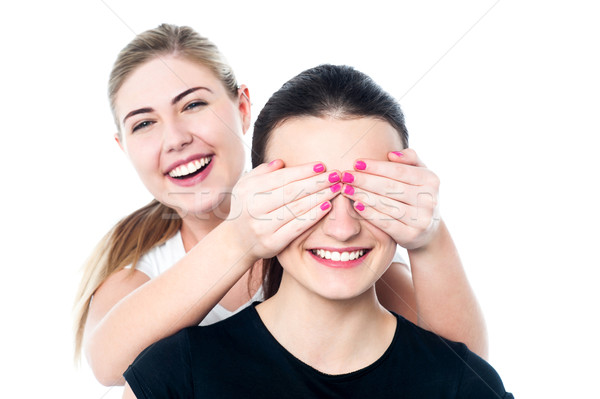 Girl in playful mood teasing her friend Stock photo © stockyimages