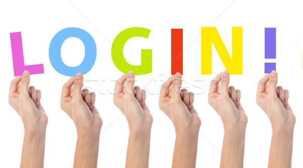 Mãos texto login palavra Foto stock © stockyimages