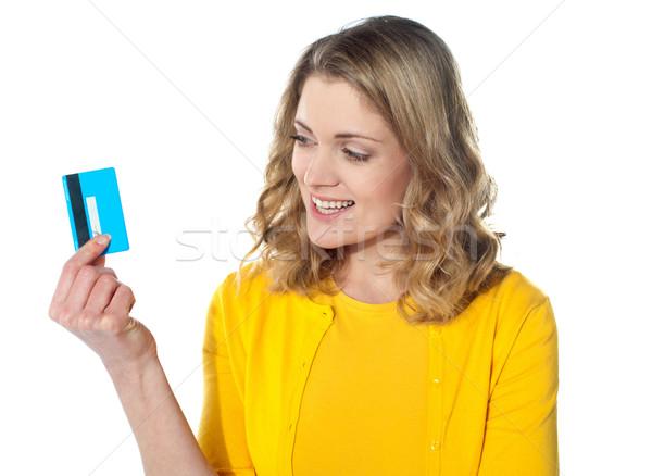 Привлекательная женщина кредитных карт изолированный белый деньги Сток-фото © stockyimages