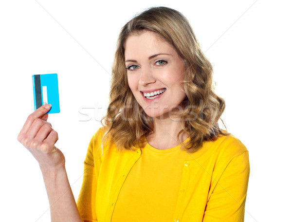 Attractive female with credit card Stock photo © stockyimages