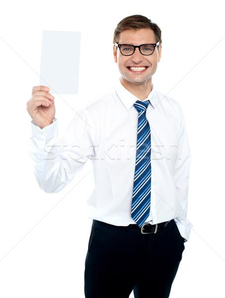 Stockfoto: Corporate · mannelijke · witte · kaart · glimlachend