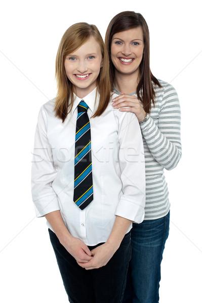 ブロンド 母親 娘 ポーズ 一緒に 孤立した ストックフォト © stockyimages