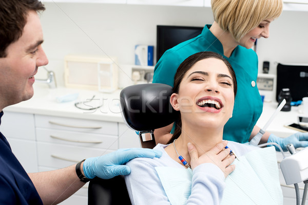 Sağlık gülümseme dostça dişçi çalışmak asistan Stok fotoğraf © stockyimages