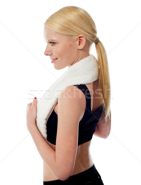 Stock foto: Fitness · Frau · Sport · isoliert · weiß · Frauen · glücklich