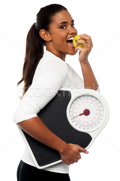 Foto stock: Maçã · dia · médico · longe · fitness · instrutor