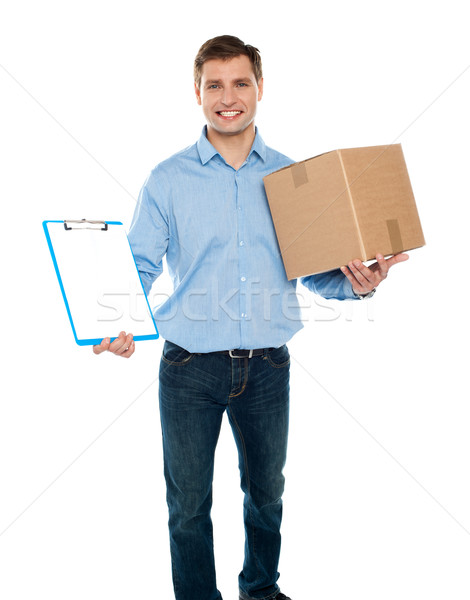 Amavelmente entrega correio serviços homem Foto stock © stockyimages