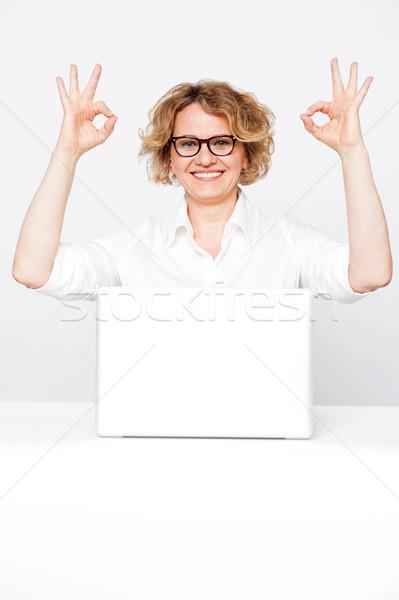 Corporate signora ottimo gesto Foto d'archivio © stockyimages