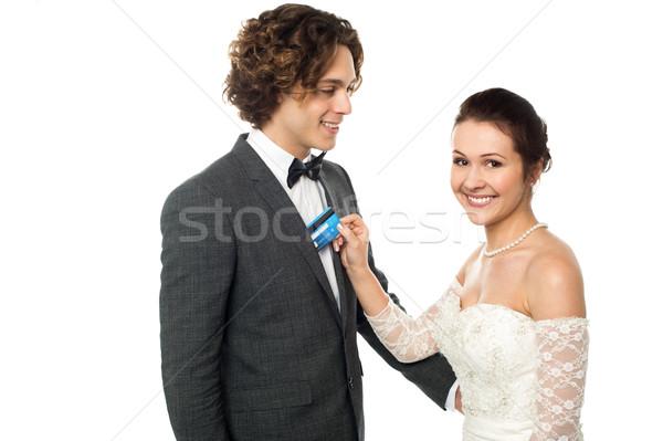 довольно невеста дебетовая карточка кредитных карт свадьба Сток-фото © stockyimages