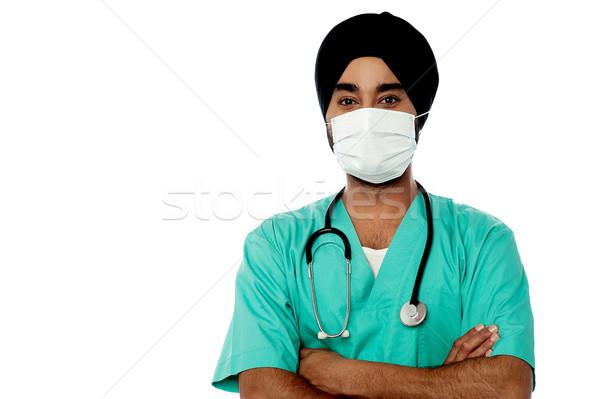 小さな 男性医師 顔 マスク 男性 ストックフォト © stockyimages