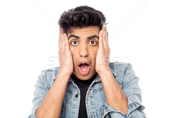 Straszny przystojny mężczyzna wyraz twarzy człowiek moda Zdjęcia stock © stockyimages