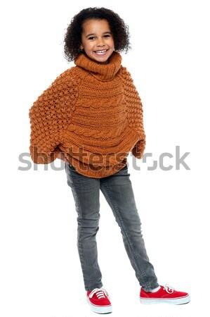 Afro american girl in over sized pullover Stock photo © stockyimages