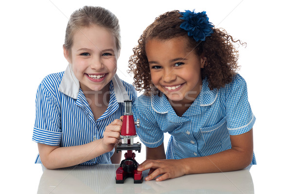 Joyous young school girls with microscope Stock photo © stockyimages