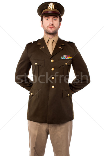 Confident young army man Stock photo © stockyimages