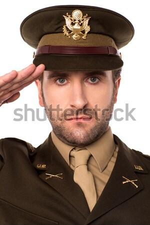 小さな 誇りに思う アメリカン 軍事 役員 スマート ストックフォト © stockyimages