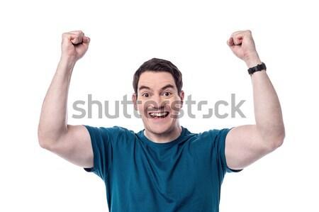 Wygrać pula podniecony człowiek sukces Zdjęcia stock © stockyimages