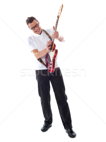 Plein coup guitariste isolé blanche Photo stock © stockyimages