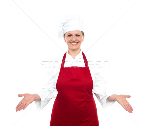 Idős női szakács áll nyitva pálmafák Stock fotó © stockyimages