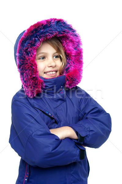 Onschuldige jong meisje genieten koud weer isolatie Stockfoto © stockyimages