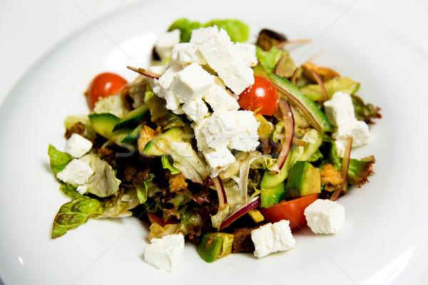 Nyár saláta fetasajt gazdag reggeli díszített Stock fotó © stockyimages