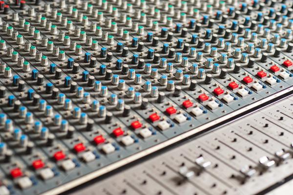 Audio mixing console, closeup shot. Stock photo © stockyimages