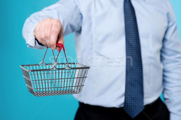 Látogatás új online bolt kép férfi mutat Stock fotó © stockyimages