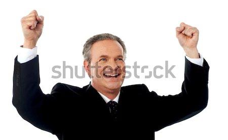 Portré sikeres üzletember öreg ujjongás izgalom Stock fotó © stockyimages