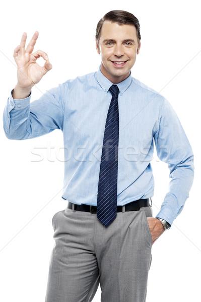 Chef d'équipe ok signe tous blanche Photo stock © stockyimages