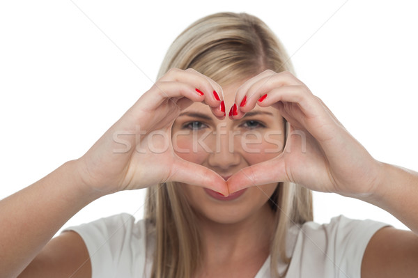 Love and compassion of cute teenage girl Stock photo © stockyimages