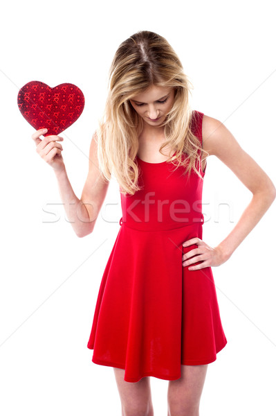 Kız valentine hediye aşağı bakıyor güzel Stok fotoğraf © stockyimages