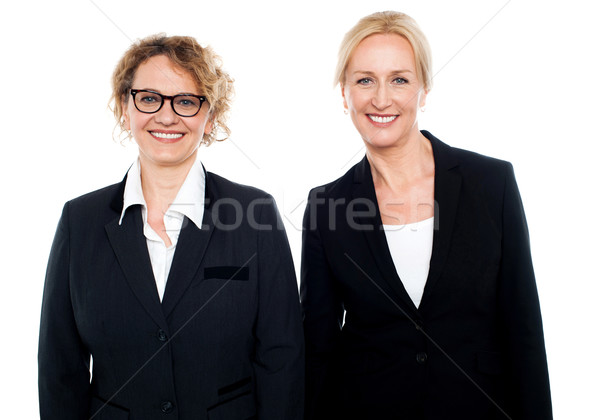 Stock photo: Team of two smiling businesswomen posing