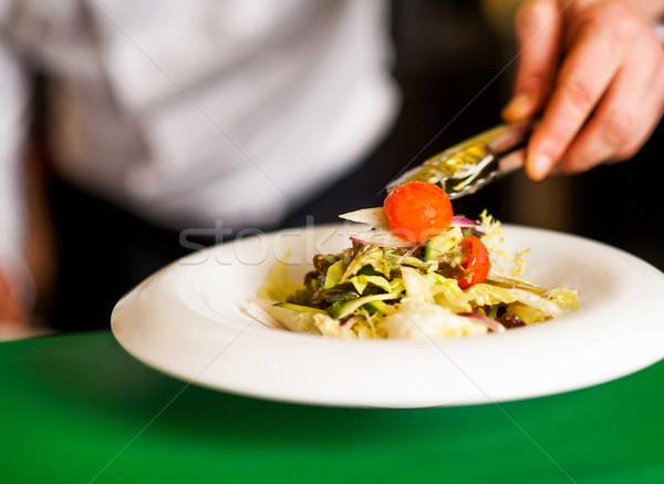 Salada bom enfeite tigela pronto mão Foto stock © stockyimages