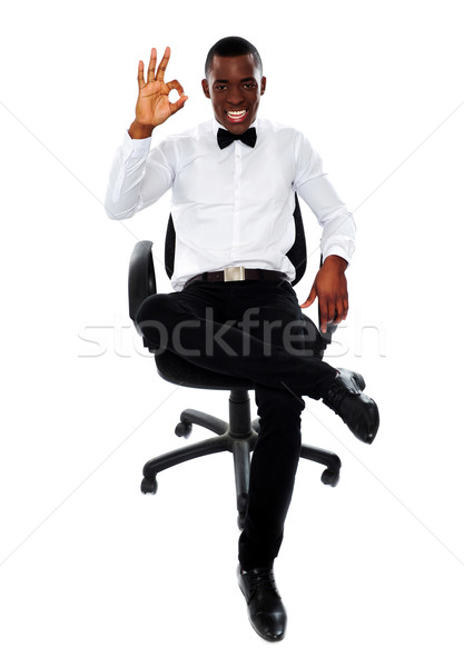 Africano corporativo homem okay gesto Foto stock © stockyimages