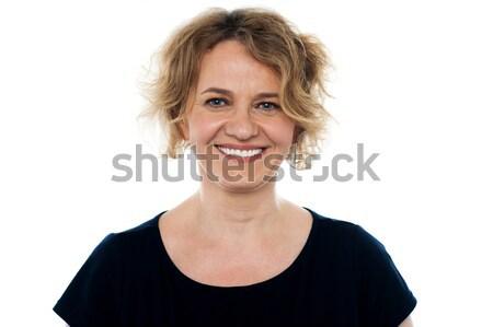 ストックフォト: クローズアップ · 肖像 · 魅力的な · シニア · 女性 · 孤立した