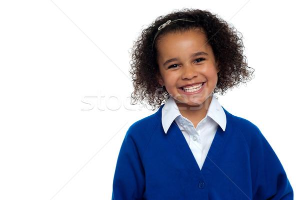 Сток-фото: довольно · девушки · вьющиеся · волосы · счастливым
