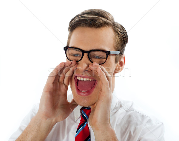 Close view of excited businessman Stock photo © stockyimages