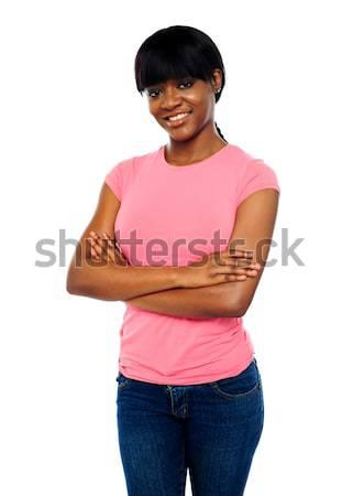 Afrikaanse teen poseren armen prachtig jonge Stockfoto © stockyimages