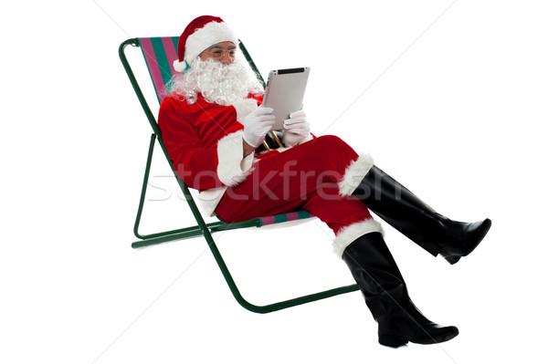 Stockfoto: Ontspannen · elektronische · tablet · stoel · geïsoleerd · witte