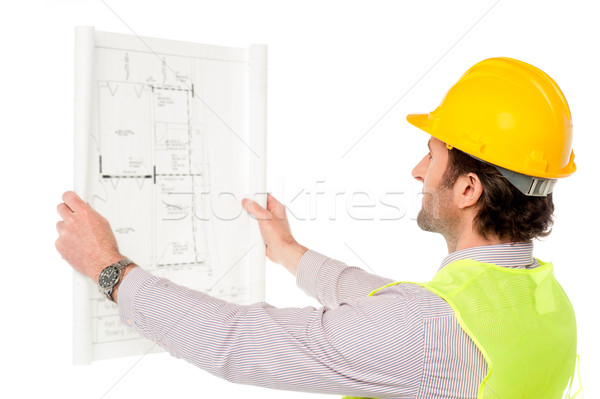 Stock photo: Civil engineer reviewing blueprint