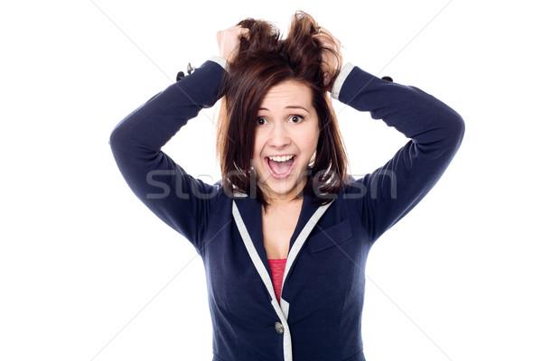 Fiatal lány húz haj izgalom játékos fiatal Stock fotó © stockyimages