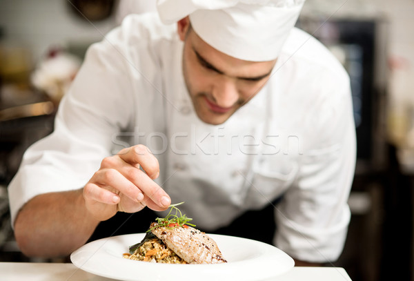 Grilled tuna fish with vegetables Stock photo © stockyimages