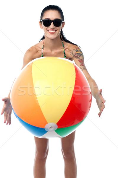 Mujer sonriente bikini aislado blanco mujer atractiva Foto stock © stockyimages