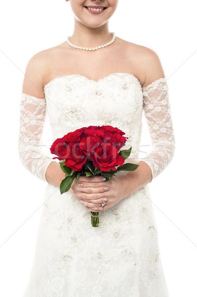 Stockfoto: Bruid · steeg · boeket · afbeelding · jonge · glimlachend