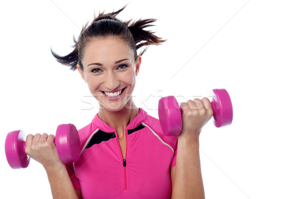 Dumbbells make my hand stronger Stock photo © stockyimages