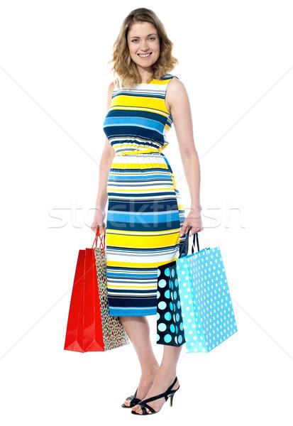Привлекательная женщина кредитных карт изолированный белый женщины Сток-фото © stockyimages