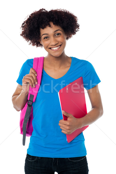 Cheerful student is all set to attend her classes Stock photo © stockyimages