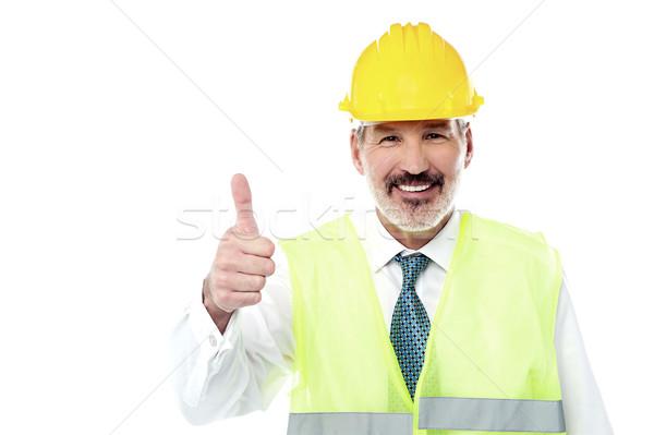устрашающий работу команда впереди счастливым инженер Сток-фото © stockyimages